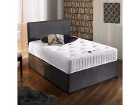 """Suede Divan Bed & 10"""" Deep Memory Foam Sprung Mattress With Free Headboard FREE NATIONWIDE DELIVERY"""