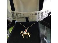 9ct Gold necklace with George Jenson soldier on horse back charm