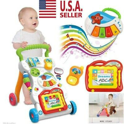 Toddlers Push Walker Stroller Multifunctional Music Cartoon Educational Toy NEW