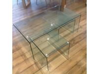 Curved Glass coffee table with 2 side tables (set of 3)
