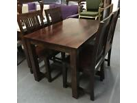 ** DARK WOOD DINING TABLE WITH 4 CHAIRS **