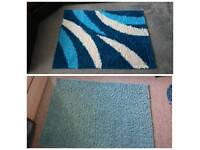 1 blue rug and 1x green/blue rug