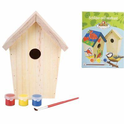 Esschert Design Madera de Pino Casa Nido con Pintura Casita para Pájaros