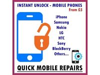 Mobile Phone Network Unlock iPhone 5 6 7 8 X , Samsung S4 S5 S6 S7 S8 Note 8 LG HTC Nokia Sony