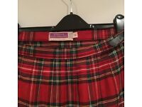 Women's red tartan kilt skirt - size 14