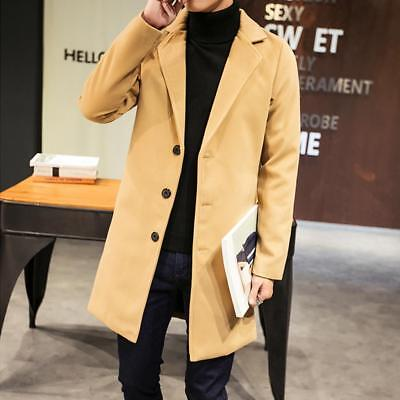 Mens Slim Single Breasted Trench Coat Long Jacket Overcoat Outwear Parka Peacoat Single Breasted Peacoat
