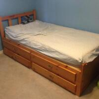 EUC solid wood bed and matresss