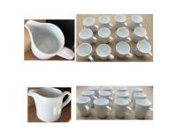 Set of 12 White Glass Mugs with Matching Milk Jug