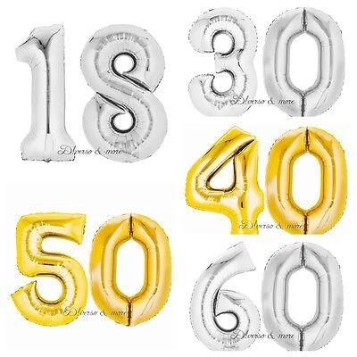 allon Zahl 44 cm gold /silber Nummer 10 20 30 40 50 60 18 (Nummer 50 Ballons)