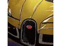 Sell my Artwork - 'Driving a gold Bugatti Chiron'