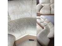 Corner fives seats with cream leather sofa
