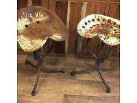 French antique tractor stools