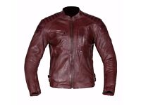 New Mens Leather Motorcycle Jacket - Spada Redux - Oxblood - Sizes 40-48