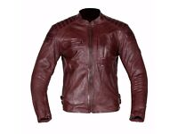 New Mens Leather Motorcycle Jacket - Spada Redux - Oxblood - Sizes 40-48