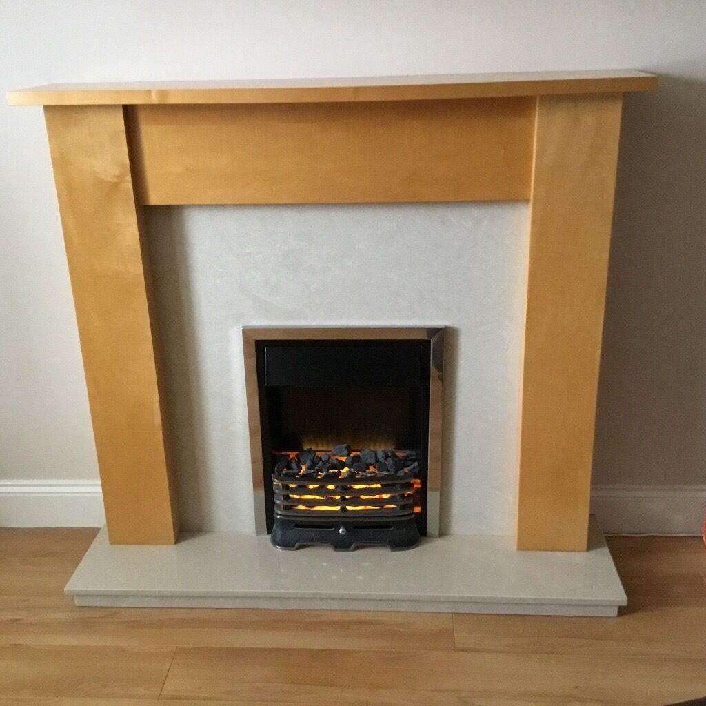 Solid wood solid marble base and solid marble facing fireplace