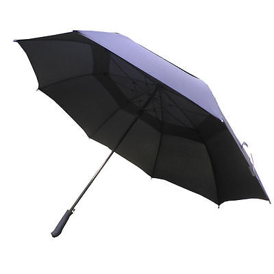 "Double Canopy Vent Windproof Black Stick Golf Fishing Umbrella Brolly 54""/137CM"