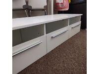 Furniture to TV, three drawers and glass shelf