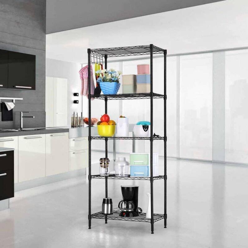 Black 5-Tier Layer Shelf Adjustable Wire Metal Shelving Rack High Quality Garage