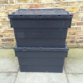 2x Large Strong Black Plastic Storage / Removal Crates 65 litre - USED