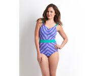 Speedo Sculpture Body Shaping Hourglass Aurapool Swimsuit Swimming Costume Purple Green 32 UK 8 / 10