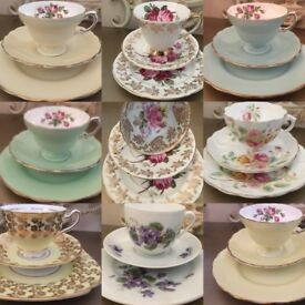 Variety of Vintage English Bone China Tea Trio Sets