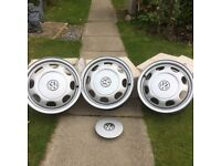 VW Polo new steel wheels with hub caps x 3
