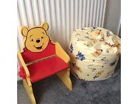 Winnie the poo chair & bean bag