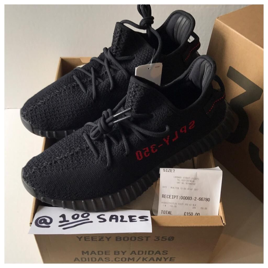 73f8e38114aae Adidas X Kanye West Yeezy Boost 350 V2 Black Red UK10 US10.5 EU44 2 3  CP9652 +SIZE  RECEIPT 100sales