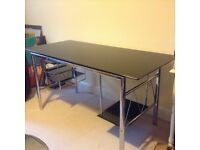 Black glass and chrome desk/computer table