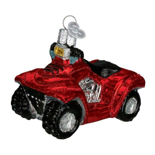 RED FOUR WHEELER ATV ALL TERRAIN OLD WORLD CHRISTMAS GLASS ORNAMENT NWT 46035