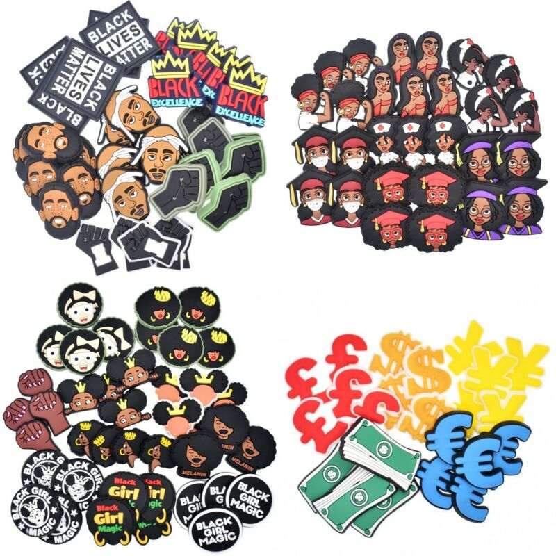 Mixed 50pcs 89 Serials PVC Flatback Charms BLM/Medicine fit Rings/Hairpin/Brooch