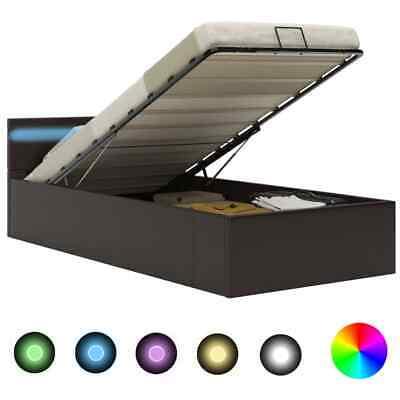 vidaXL Stauraumbett Hydraulisch LED Grau 90x200cm Kunstleder Bett Polsterbett