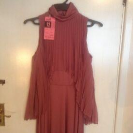 LOVELY 1960'S UNIQUE DUSTY PINK COLOUR DRESS - SIZE 12