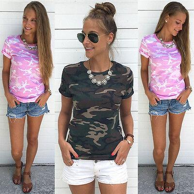 Damen Camouflage Kurzarm Shirt Hemd Bluse Sommer Freizeit Tunika Oberteil Tops