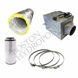 """Hydroponic Acoustic Ducting Silent Box Fan Fox Filter Kit 200mm 8"""" Inch"""