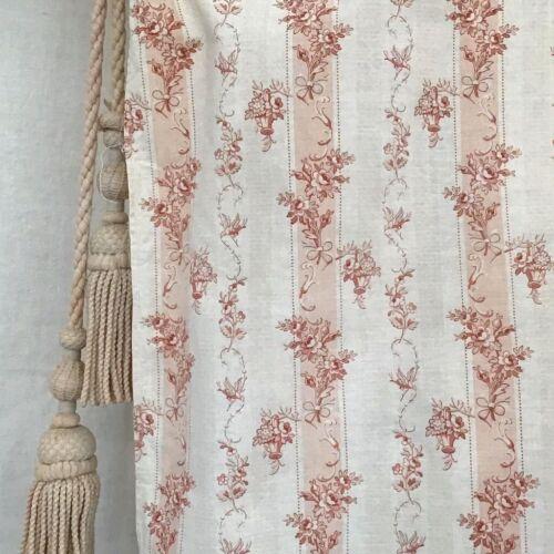 Antique /Vintage French Fabric Printed Cotton Biedermeier Look Stripe Birds