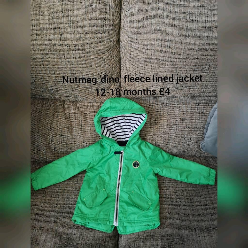 71b2475b6446 Nutmeg fleece lined  dino  jacket. 12-18 months