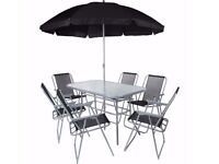 **FREE UK DELIVERY** Kingfisher 6 Seater Garden Patio Set with Parasol- BRAND NEW!