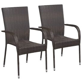 Stackable Outdoor Chairs 2 pcs Poly Rattan Brown-44237