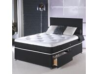 EXPRESS FAST DELIVERY ---- DOUBLE DIVAN BED BASE INCLUDING MATTRESS (Headboard Optional)