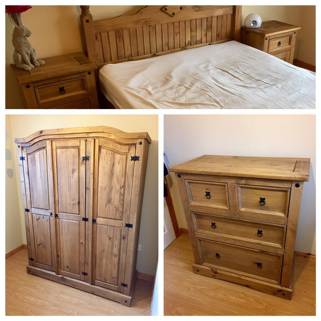 Mexican Pine Bedroom Furniture 6 Piece Mexican Pine Bedroom Set Wardrobe Bedside Dressers Bed