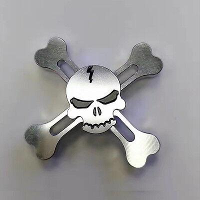 "Special ""Skull"" Silver EDC Fidget Hand Spinner Torqbar ADHD Autism Finger Toy"