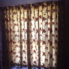 Raised floral cream curtains fully lined thick curtains, 208 Cm Wide