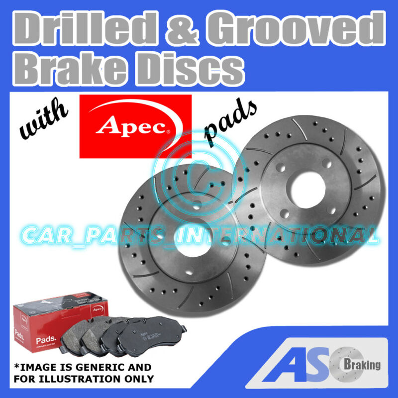 Drilled & Grooved 5 Stud 334mm Vented Brake Discs (Pair) D_G_2556 with Apec Pads