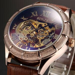 Luxury Automatic Roman Steampunk Gear Brown Leather Mens Dress Mechanical Watch