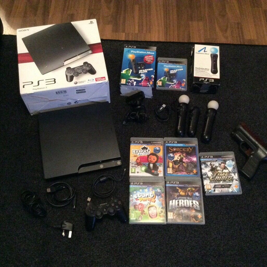 PS3 console bundle with PlayStation move and games