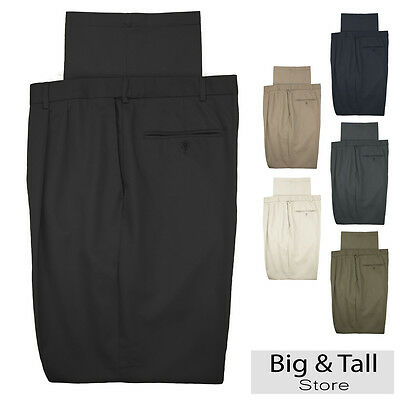 Haggar Big & Tall Men's Pleated Casual Pants Expandable Waist
