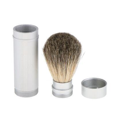 Travel Men Shaving Brush Soap Cream Shave Brush in Aluminum Tube Long -
