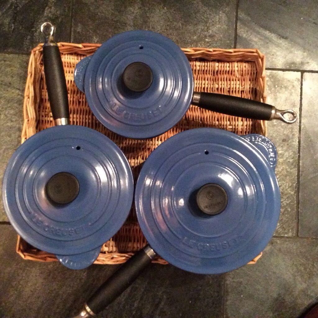 Le creuset cast iron saucepan set - Le Creuset Classic Cast Iron 3 Saucepan Set In Marseille Blue