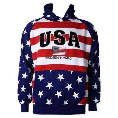 Washington DC USA American Flag Sweatshirt Hoodie Embroidered Letters Unisex